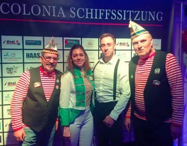 Sarah C. mit Dirk Becker auf der Colonia Benefizschiffsitzung